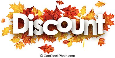 Discount autumn banner with leaves.