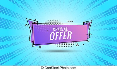 Discount banner shape. Special offer badge. Sale coupon bubble icon. Abstract blue sunbeams background. Modern concept design. Banner with offer badge. Vector illustration