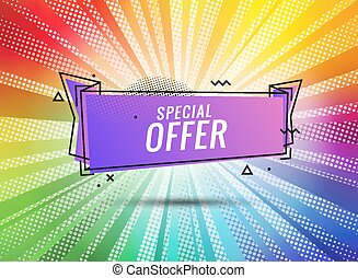 Discount banner shape. Special offer badge. Sale coupon bubble icon. Abstract color sunbeams background. Modern concept design. Banner with offer badge. Vector illustration