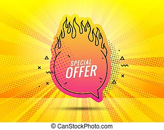 Discount banner shape. Special offer badge. Sale coupon bubble icon. Abstract yellow sunbeams background. Modern concept design. Banner with offer badge. Vector illustration