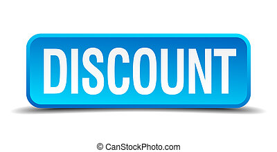 discount blue 3d realistic square isolated button
