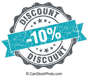 Discount blue grunge retro style isolated seal
