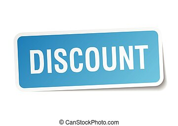 discount blue square sticker isolated on white