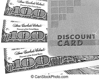 Discount card and money - Discount card and us dollar,...