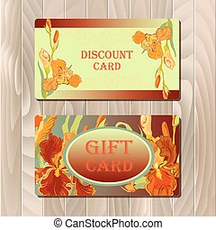 Discount card printable template with red iris flower design.