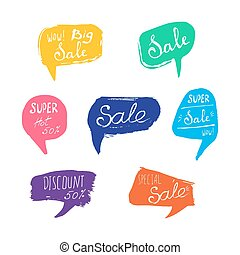 Discount card set of Sale. Hand drawn collection of labels and logos. Vector set of comic speech bubbles