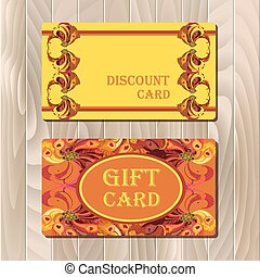 Discount card template with peacock feathers design.