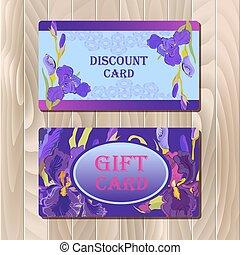 Discount card template with purple iris flower design.