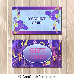 Discount card template with purple iris flower design.