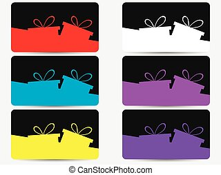 Discount cards with gift boxes set. Vector illustration
