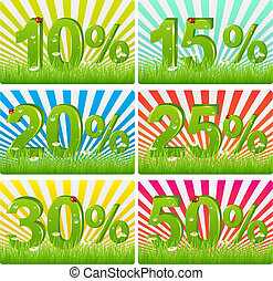Discount Cards With Green Figures In Grass