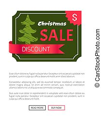 Discount Christmas Sale Banner with Green Tree