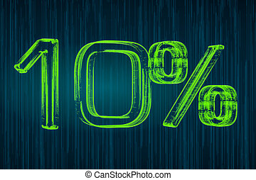 Discount concept, 10 percent luminous inscription, 3D rendering