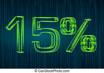 Discount concept, 15 percent luminous inscription, 3D rendering