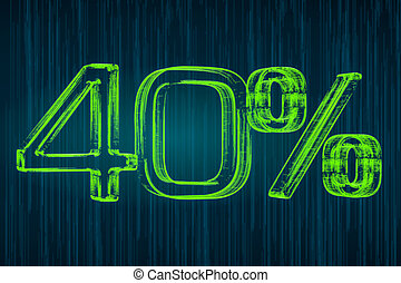 Discount concept, 40 percent luminous inscription, 3D rendering