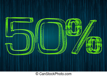 Discount concept, 50 percent luminous inscription, 3D rendering