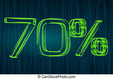 Discount concept, 70 percent luminous inscription, 3D rendering