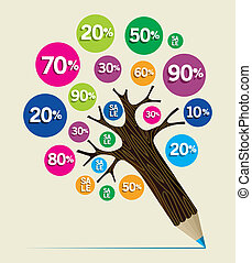 Discount concept pencil tree