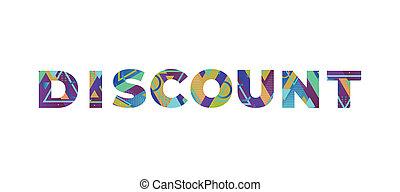 Discount Concept Retro Colorful Word Art Illustration