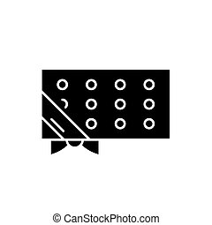 Discount coupon black icon, vector sign on isolated background. Discount coupon concept symbol, illustration