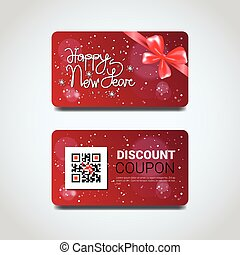 Discount Coupon Design Voucher With Qr Code For Present On Merry Christmas And Happy New Year Isolated