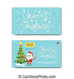 Discount Coupon Design Voucher With Santa And Green Tree...