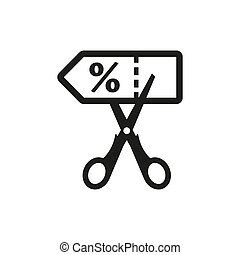 Discount coupon with scissors sign icon on white background.