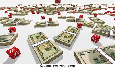 Dollar banknotes and falling red cubes with a symbol of percent