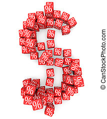 Discount - Dollar symbol from red cubes with percents