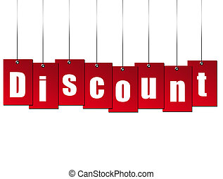 Discount - Billboard hanging  discount over white background