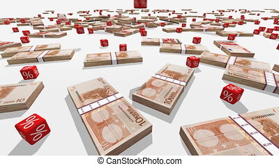 Euro banknotes and falling red cubes with a symbol of percent