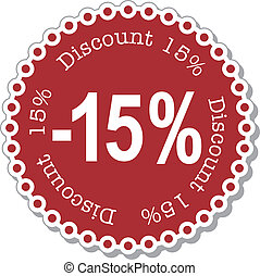 Discount fifteen percent - illustration stickers for fifteen...
