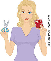 Discount Girl - Illustration of a Girl Holding a Discount...