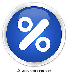 Discount icon blue glossy round button