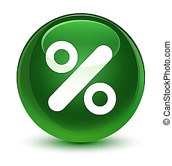 Discount icon glassy soft green round button