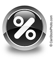 Discount icon glossy black round button