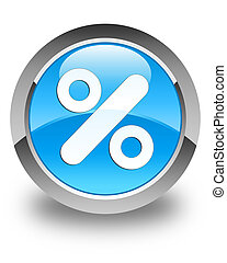 Discount icon glossy cyan blue round button