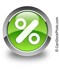Discount icon glossy green round button
