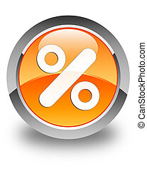 Discount icon glossy orange round button