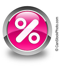 Discount icon glossy pink round button