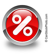 Discount icon glossy red round button