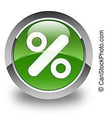 Discount icon glossy soft green round button