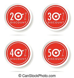 discount icon set on red button illustration