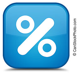 Discount icon special cyan blue square button