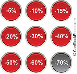 Discount icons. - Discount glossy icons. Vector buttons