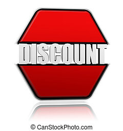 discount in red hexagon banner with 3d white letters