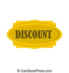 Discount label icon, flat style