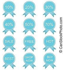Discount labels set, vector illustration