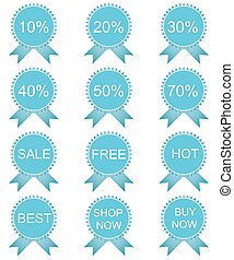Discount labels set, vector illustration