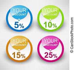 Discount labels. Vector